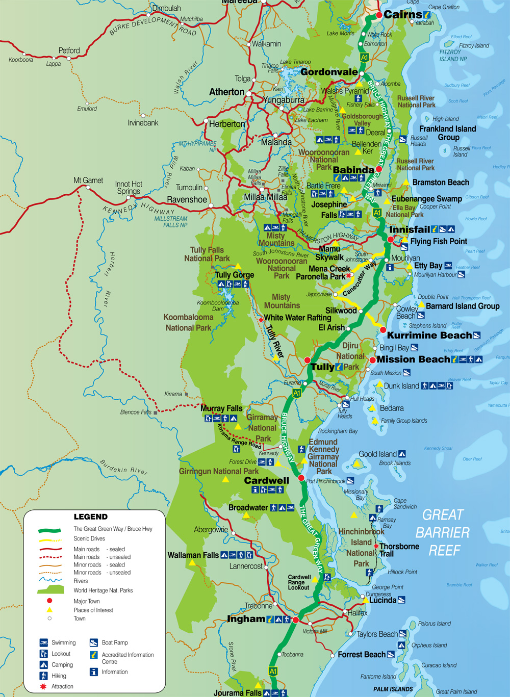 Tourist Map Of East Coast Of Australia.Sealords Mission Beach Accommodation Cassowary Coast